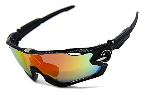 PLAYBOOK Road Mountain Cycling Glasses Goggles Eyewear Polarized Cycling Bicycle Sunglasses Oculos Gafas Ciclismo 3 Lens (Black/Grey)