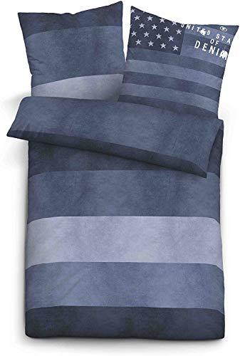 Tom Tailor 49467 Bettwäsche Set mit Kopfkissenhülle Linon 1x 135x200 cm + 1x 80x80 cm Blau