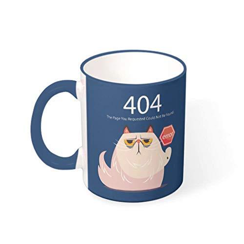 O2ECH-8 11 Unze 404 Fehler Kat.-Nr. Getränke Tee Becher Tassen mit Griff Porzellan Personalize Becher - Lustige Programmierer-Geschenke Klassenkamerad, Anzug für Midnight Blue 330ml