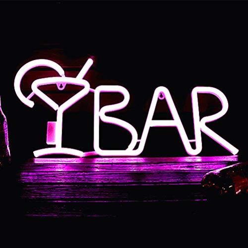 Señales de luz de neón | Bar Sign Bar Bar Letras LED Light Wall Decoration | Lámpara de Mesa de Luces Decorativas de Arte de neón para la Sala de Bodas de la Barra recreativa