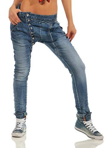 Fashion4Young 11424 Damen Jeans Röhrenjeans Hose Boyfriend Baggy Haremscut Damenjeans Slim-Fit (Jeans-blau-5857, XL-42)