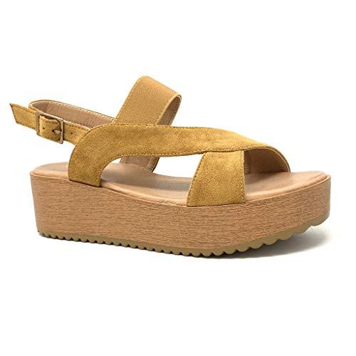 Angkorly - Zapatillas Moda Sandalias Bohemia Plataforma Playa Mujer Correas Cruzadas Efecto Madera Plataforma 5 CM