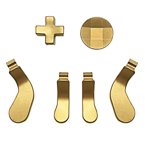 Metal D-Pads, Paddles Hair Trigger Locks Replacement for Xbox One Elite Controller Series 2 & Series 1 (Gold)