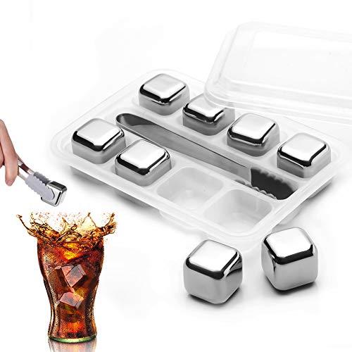 Piedras de cubitos hielo MaQue para whisky, 8 reutilizables acero inoxidable, juego regalo con pinzas gratuitas, vino, ron, cerveza, vodka, ginebra, cócteles, accesorios bar