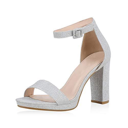 SCARPE VITA Damen Sandaletten High Heels Glitzer Schuhe Schnalle Party Absatzschuhe Blockabsatz Sandalen Abendschuhe 188067 Silber 37