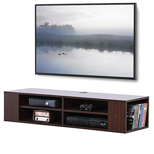 FITUEYES Floating TV Shelf Wall Mounted Entertainment Center Media Console for AV Receiver/Xbox/Cable Boxes/Gaming Systems DS212001WB