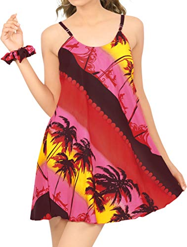 LA LEELA Vestido de la Playa de Las Mujeres más el tamaño de Vestido de Verano Ropa de Playa pivotar Informal Rojo_Z39 L