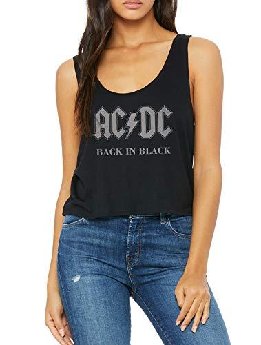 LaMAGLIERIA Damen Top ACDC Ac/Dc Back In Black - Tank top Boxy fit Rock, L/XL, Schwarz