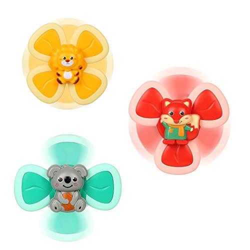 OZOY Baby Bath Spinner Toy with Rotating Suction Cup, 3Pcs Baby Bath Toys Cartoon Animal Rotating Suction Cups, Eating Suction Cups Dining Chairs Toys Bath Toys Windmill (Animal)
