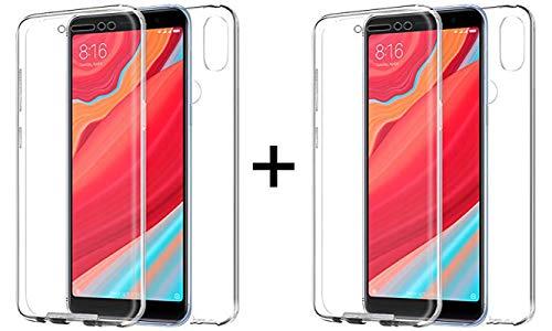 """TBOC 2X Funda para Xiaomi Redmi S2 [5.99""""] - [Pack: Dos Unidades] Carcasa [Transparente] Completa [Silicona TPU] Doble Cara [360 Grados] Protección Integral Total Delantera Trasera Lateral Móvil"""