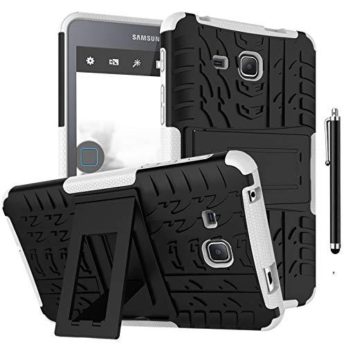 SsHhUu Funda para Galaxy Tab 3 Lite 7' SM-T110, Anti-Choques Carcasa Doble Capa Protectora de Silicón y PC con Soporte para Samsung Galaxy Tab 3 Lite 7.0 SM-T110/T111/T113/T116, Blanco