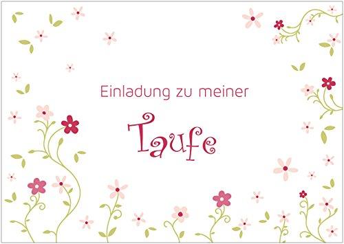 Einladungskarte zur Taufe Einladung zu meiner Taufe Klappgrußkarte/Taufkarte für EIN Mädchen in Rosa/Grün mit verspielten Blumen (Mit Gutschein) (4)