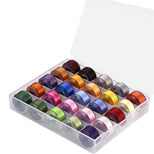 25 bobinas de hilo de coser para máquina de coser de tamaño estándar, color transparente