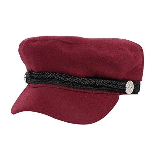 Lhbin Arbeiten Sie schwarzen Hutwinterplüschhut weiblichen Knopfhut beiläufigen Straßenabnutzungsseilflachen Hut eleganten Normallack Herbst-W1946-JR um