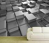 WTD - Carta da parati fotografica in tessuto non tessuto, effetto 3D, motivo cubo oro, quader cubico, colore nero e bianco, dimensioni 400 x 200 cm