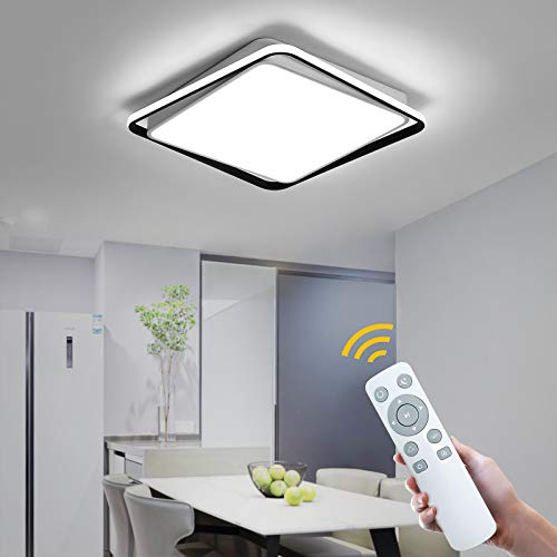 NEWSEE Lámpara LED de techo con mando a distancia, moderna lámpara de techo regulable para salón blanco frío hasta cálido 63 W para habitación de los niños comedor dormitorio pasillo (52 cm, 83 W)