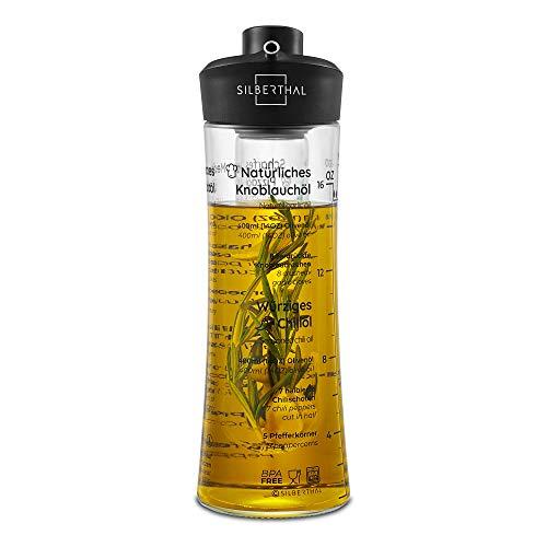SILBERTHAL Aceitera Cristal Aceitera antigoteo 500 ml | Aceitera aromatizadora | Botella Aceite Oliva Cristal | Aceitera Especias | Aceitero Anti Goteo | Dispensador Aceite