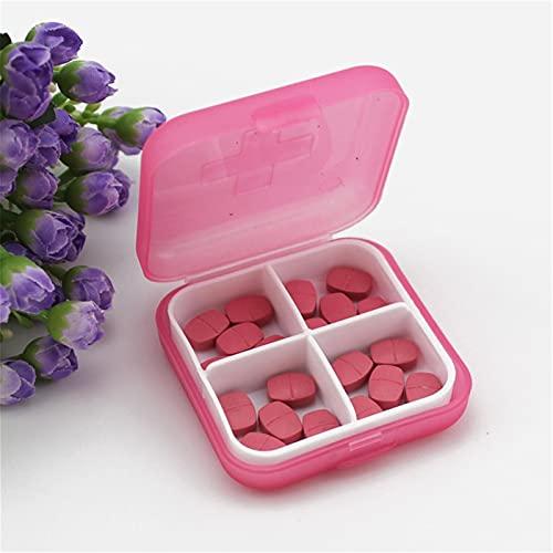 FENGNANMY Botiquin Mini 4 Slots Portátil Pastel Píldora Medicina Medicina Estuche Organizador Píldora Píldora Píldora Caja Medicina Organizador Caja Contenedor (Color : Pink)