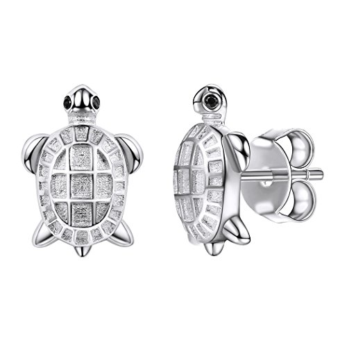 SILVERCUTE Schildkröte Ohrringe Schmuck Damen Silber 925 Tier Ohrstecker Ohr Piercing für Mädchen perfektes Geschenk für Weinhnachten Valentinestag Geburtstag