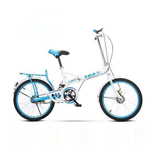 BIKESJN 20 Zoll Faltrad Kinder Ultraleicht Tragbare Männer und Frauen Erwachsene Stoßdämpfer Fahrrad Student Fahrrad (Color : Blue)