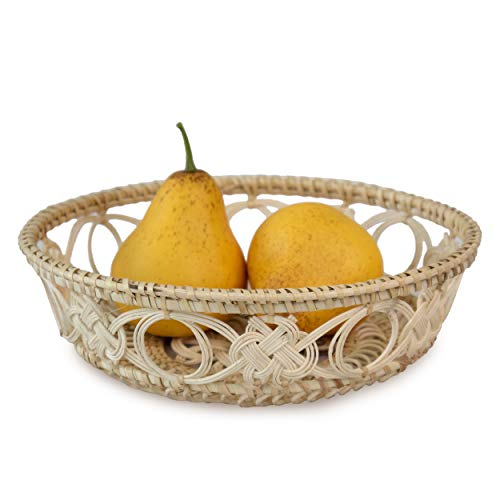 Set of 2 Wicker Bread Fruit Basket Bowls | Round Tabletop Rattan Woven Serving Bowls for Home and Restaurant (Wicker Wire Bowl)