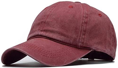 XJIUER hat Sombrero Visera Huesos Unisex Desgastados Hombres Hip Hop papá Huesos Gorra de béisbol Burdeos