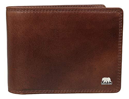 Brown Bear Geldbörse Herren Leder Braun Querformat RFID Schutz Doppelnaht hochwertig Echtleder Portemonnaie groß viele Fächer Männer Business Geldbeutel Portmonee Portmonaise Ledergeldbörse