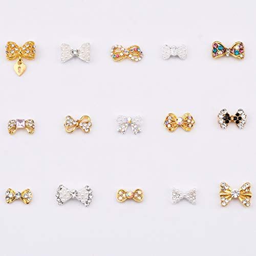 Mix 15 Designs Crystal ab Rhinestones Alloy Gold 3d Nail Charms Bows Silver Pearls Jewel Decals for Nail Art 30pcs