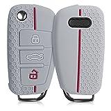 kwmobile Funda de Silicona Compatible con Audi Llave de Coche Plegable de 3 Botones - Carcasa Suave de Silicona - Case Mando de Auto Gris/Rojo