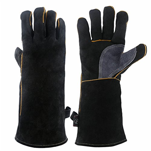 KIM YUAN Extreme Heat & Fire Resistant Gloves Leather with Kevlar Stitching,Mitts Perfect for Fireplace, Stove, Oven, Grill, Welding, BBQ, Mig, Pot Holder, Animal Handling, Black-Grey 16 inches