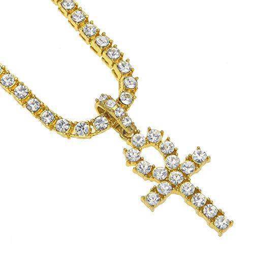 Yowablo Anhänger Halskette Männer Frauen Hip Hop Schmuck Bling Strass Kristall Schlüsselkreuz (24inch Gold)