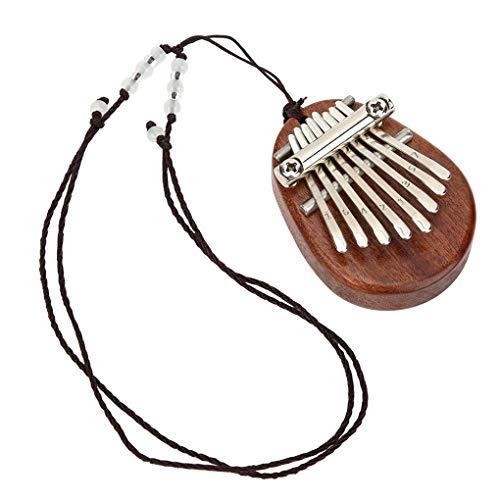 Bomcomi Portátil de Madera Kalimba Mini 8 Metal Mano Claves del Piano del Instrumento Musical del Collar Pendiente (Cocina)