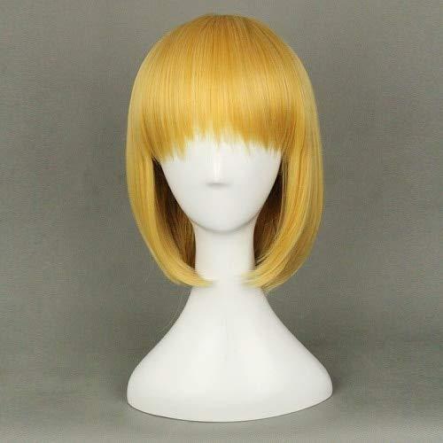 Ataque de peluca sinttica recta corta dorada Bobo en Titn Armin Arlert Cosplay disfraz peluca fibra de resistencia al calor talla nica como la imagen