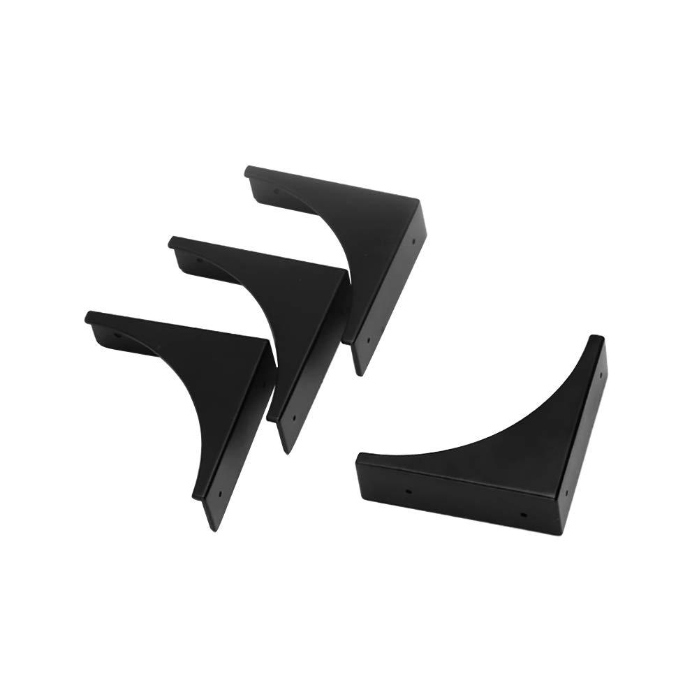 Eforlike 4 Piece Antique Metal Box Corner Protector Edge Safety Guard Cabinet Furniture Corner Metal Bumpers (Black)