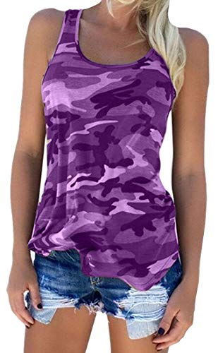 Zcavy Women's Camo Workout Tank Tops Cycling Racerback Tanks Fishing Tank Tops Quick Dry Gym Tops Camo Print Yoga Tank Tops Fitness Athletic Tank Sports Apparel Running Shirts for Women Purple S