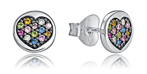 Pendientes Botón Viceroy 7090E000-38 mujer plata Corazón Circonitas
