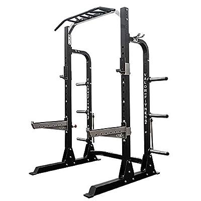 Valor Fitness PRO BD-58 Half Rack w/Plate Storage, Multi-Grip Pull Up Station, Bar Storage, Plus Bundle Option to add Weightlifting Platform (1000 lb. Capacity)
