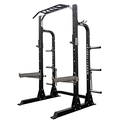 Valor Fitness BD-58 Half Rack w/Plate Storage, Multi-Grip Pull Up Station, Bar Storage, Plus Bundle Option to add Weightlifting Platform (1000 lb. Capacity)