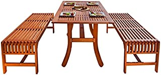 Malibu V189SET13 3 Piece Wood Outdoor Dining Set with Backless Benches