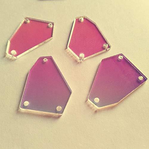 30PCS of Sew On Acrylic Irregular Mirror,DIY Mirrored Rhinestones for Costume Evening Dresses Cloth Garment Accessory 35MM (AB)