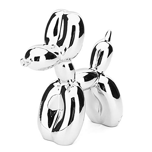 TZSHUQ Hars Hond Ornament Decoratieve Figuur Beeldje Kunst Sculptuur Home Decor Gift Party Cake Dessert Desktop Decoratie Ballon Hond ZILVER