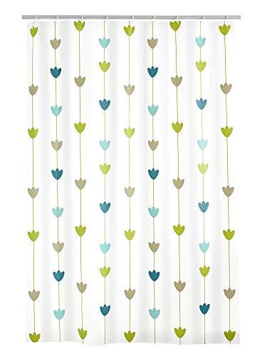 RIDDER Lilia Folien-Duschvorhang, 100prozent PEVA, Blau-grün, 180x200 cm