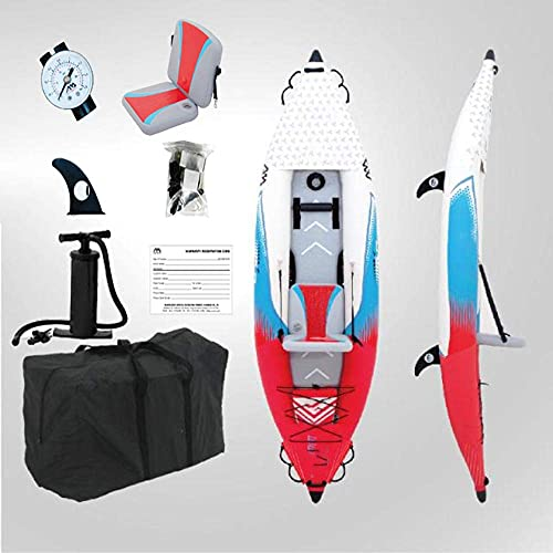 XJZKA Kayak Hinchable Inflable Kayaks y remos Individuales para 2 Personas Bote Inflable Canoa a la Deriva Dinghy Sit on Top Kayak, B