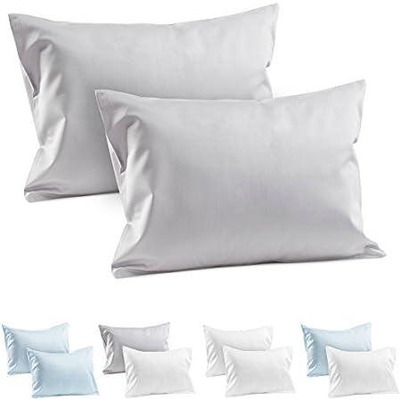 2 fundas de almohada de viaje para bebé, 100% algodón, funda de almohada de satén de 400 hilos, fundas de almohada de 35,5 x 48,2 cm, o de 33 x 45,7 cm, fundas de almohada de viaje para bebé, hipoalergénicas, gris, 13.5in x 18.5in / 34.2cm x 46.9cm