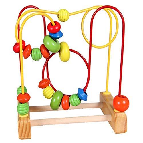 YLWL Kinder Spaß Kleinkind Baby Bunte Holz Mini um Perlen Draht Labyrinth Lernspielzeug Entwicklung interaktiver Kinderspielzeug (Bunt)