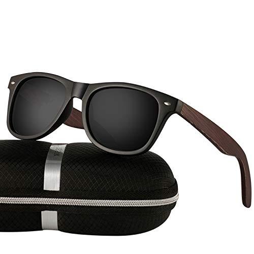 wearPro Sonnenbrille Herren Polarisierte Walnussholz Holz Männer Frauen Sonnenbrillen UV400 Mode für das Reisen mit polarisierten Gläsern W1003 (W BBlackNail)