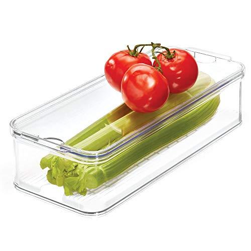 iDesign Caja de Almacenamiento apilable para armarios de Cocina o Nevera, Caja organizadora de Alimentos de plástico, Recipiente con Tapa y Bandeja Interior, Transparente y Blanco
