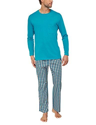 Seidensticker Herren Zweiteiliger Schlafanzug Lang, Blau (türkis 807), Large (Herstellergröße: 52)