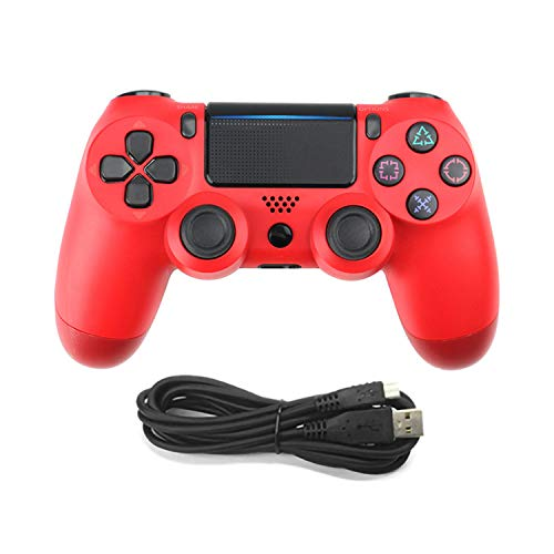 WEUN Controlador PS4, Gamepad inalámbrico con Motores de Movimiento y función de Audio Mini indicador LED Cable USB y Antideslizante Playstation 4 / Pro/Slim/PC (7/8 / 8.1/10),Rojo