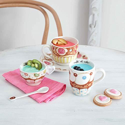 THUN - Tazza da tè per Colazione, con Decorazione Dolcetti e Cupcake - Accessori Cucina - Linea New Sweet Cake - Formato Grande - Porcellana - 500 ml, Piattino Ø 17 cm